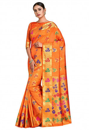 Dharmavaram Saree in Orange