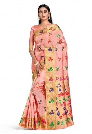 Dharmavaram Saree in Peach