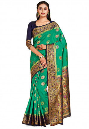 Dharmavaram Saree in Teal Green
