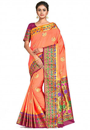 Dharmavaram Silk Saree in Peach