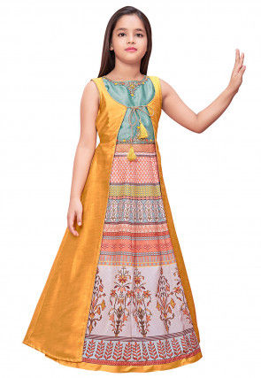 Digital Print Art Silk Jacket Style Gown in Multicolor and Mustard