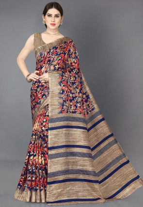 Digital Print Art Silk Saree in Navy Blue and Multicolor