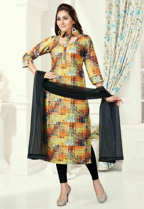 Digital Print Cotton Straight Suit in Multicolor