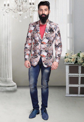 Digital Printed Art Linen Silk Blazer in Cream