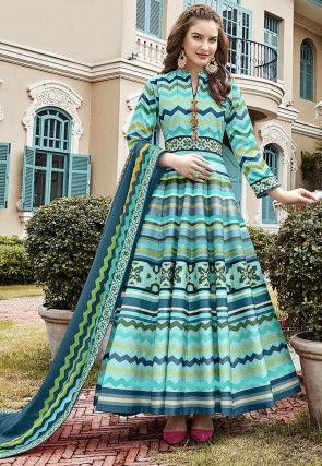 Digital Printed Art Silk Abaya Style Suit in Blue