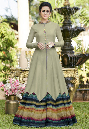 Digital Printed Art Silk Abaya Style Suit in Dusty Green and Multicolor