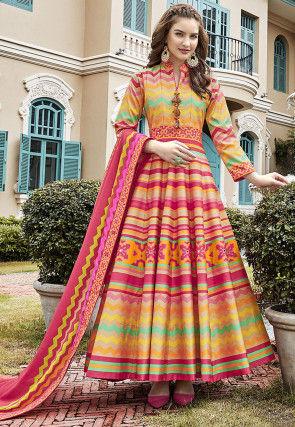 Digital Printed Art Silk Abaya Style Suit in Multicolor