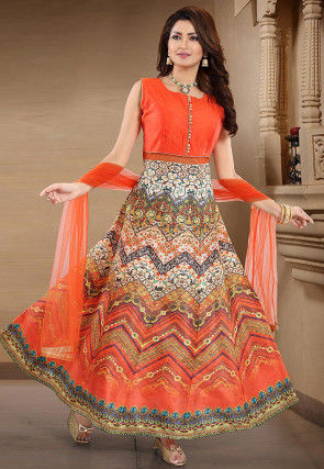 Digital Printed Art Silk Abaya Style Suit in Orange and White
