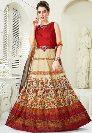 Digital Printed Art Silk Abaya Style Suit in Red and Beige