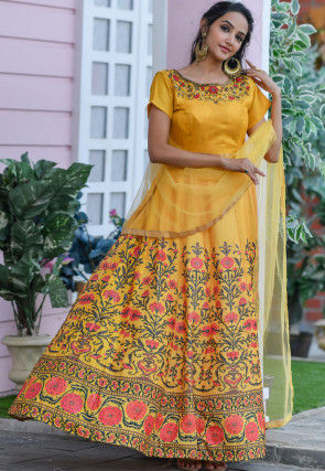 Digital Printed Art Silk Abaya Style Suit in Yellow