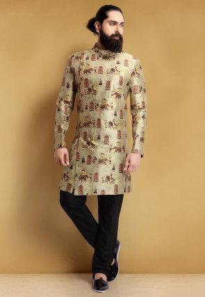 Digital Printed Art Silk Angrakha Style Jodhpuri Suit in Beige