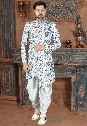 Digital Printed Art Silk Asymmetric Dhoti Sherwani in Off White