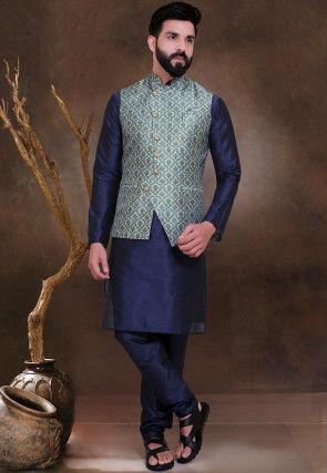 Digital Printed Art Silk Asymmetric Nehru Jacket in Sea Green