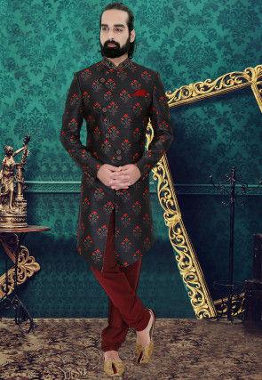 Digital Printed Art Silk Asymmetric Sherwani in Black