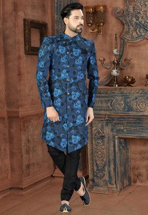 Digital Printed Art Silk Asymmetric Sherwani in Blue