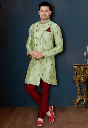Digital Printed Art Silk Asymmetric Sherwani in Pastel Grreen