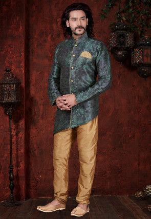 Digital Printed Art Silk Asymmetric Sherwani in Teal Green