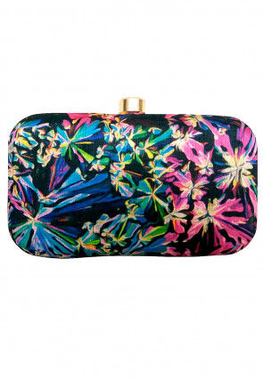 Digital Printed Art Silk Box Clutch in Multicolor