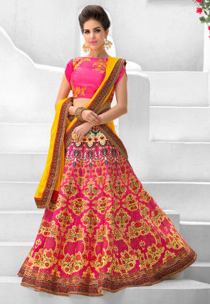 Digital Printed Art Silk Circular Lehenga in Fuchsia