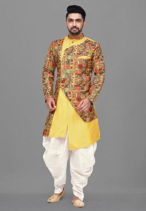 Digital Printed Art Silk Dhoti Kurta in Mustard