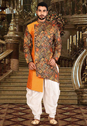 Digital Printed Art Silk Dhoti Sherwani in Orange