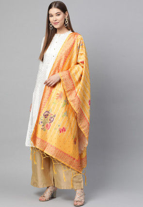 Digital Printed Art Silk Dupatta in Mustard