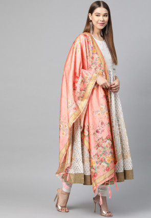 Digital Printed Art Silk Dupatta in Peach