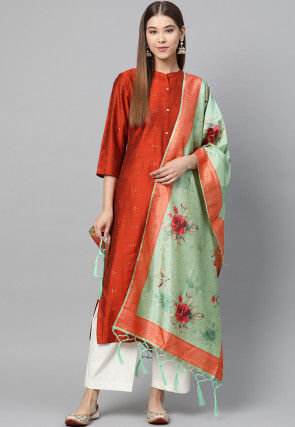 Digital Printed Art Silk Dupatta in Sea Green