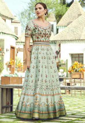 Digital Printed Art Silk Gown in Pastel Green