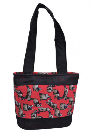 Digital Printed Art Silk Hand Bag in Black and Red