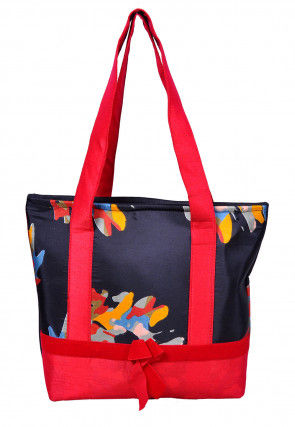 Digital Printed Art Silk Hand Bag in Black