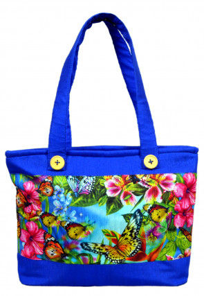 Digital Printed Art Silk Hand Bag in Blue and Multicolor