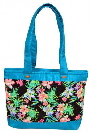 Digital Printed Art Silk Hand Bag in Blue and Multicolur
