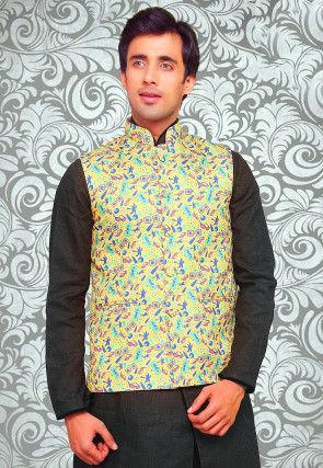 Digital Printed Art Silk Jacket in Light Yellow