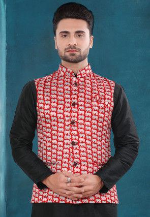 Digital Printed Art Silk Jacket in Red