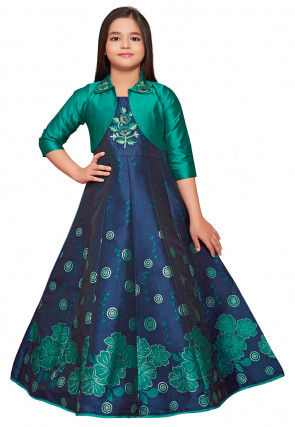 Digital Printed Art Silk Jacket Style Gown in Blue and Green