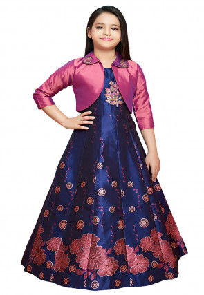 Digital Printed Art Silk Jacket Style Gown in Blue and Pink