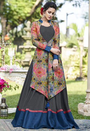 Digital Printed Art Silk Jacket Style Gown in Grey and Multicolor