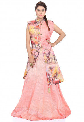 Digital Printed Art Silk Jacket Style Gown in Light Pink