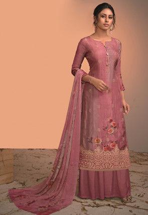 Digital Printed Art Silk Jacquard Pakistani Suit in Pink