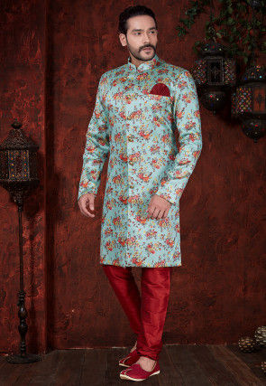 Digital Printed Art Silk Jacquard Sherwani in Light Blue