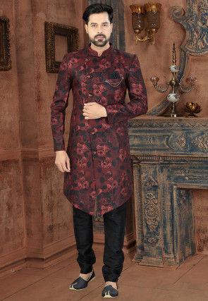 Digital Printed Art Silk Jacquard Sherwani in Maroon