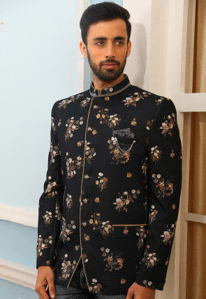 Digital Printed Art Silk Jodhpuri Jacket in Black