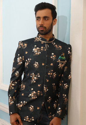 Digital Printed Art Silk Jodhpuri Jacket in Black