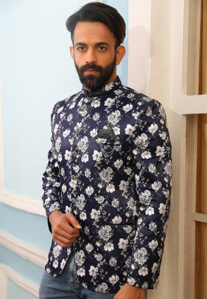 Digital Printed Art Silk Jodhpuri Jacket in Navy Blue