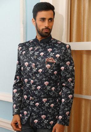 Digital Printed Art Silk Jodhpuri Jacket in Navy Blue