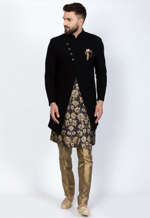 Digital Printed Art Silk Kurta Jacket Set in Black
