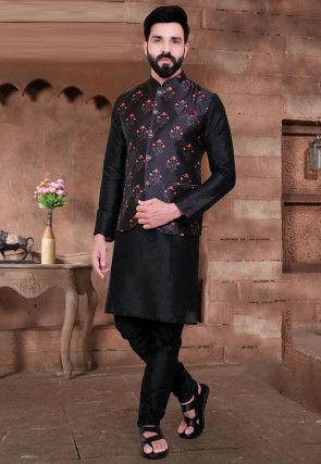 Digital Printed Art Silk Kurta Jacket Set in Black