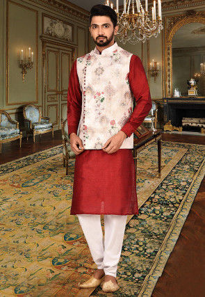 Digital Printed Art Silk Kurta Jacket Set in Red and Off White