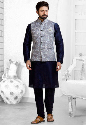 Digital Printed Art Silk Kurta Pajama Set in Navy Blue